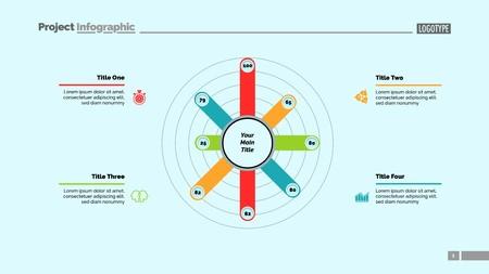 Eight Bars Radial Chart Slide Template Ilustrace