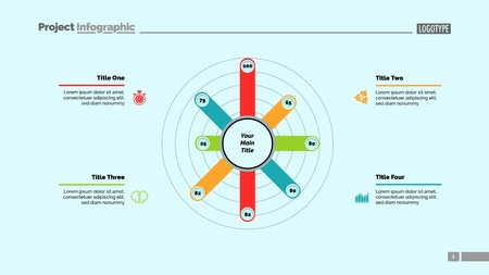 Eight Bars Radial Chart Slide Template Illustration