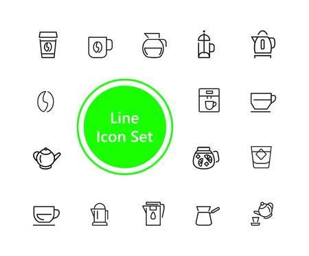 Tea and coffee icon set