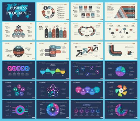 Set of marketing or production concept infographic charts. Graphic elements for presentation slide templates. For corporate report, advertising, banner and brochure design. Vettoriali
