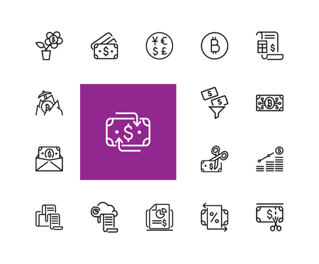 Currency icons. Set of  line icons. Dollar, bitcoin, credit card. Currency exchange concept. Vector illustration can be used for topics like economics, finance, money.