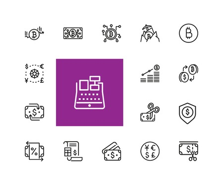 Finance icons. Set of  line icons. Bitcoin, currency, payment. Finance concept. Vector illustration can be used for topics like banking, money, saving