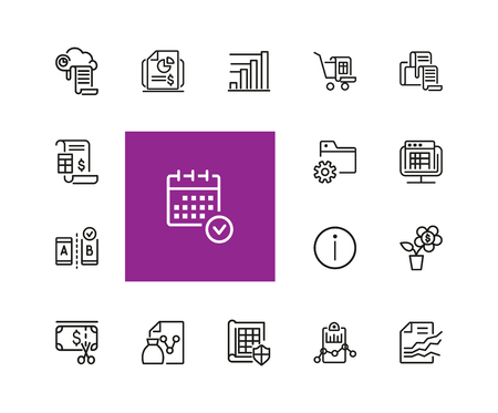 Marketing icons. Set of  line icons. Diagram, data, report. Marketing concept. Vector illustration can be used for topics like business, analysis, finance. Vectores