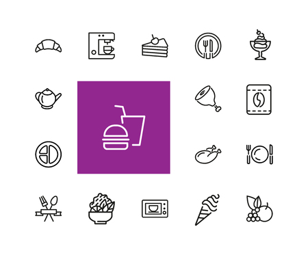 Meal icons. Set of line icons. Restaurant, coffee shop, bakery. Food service concept. Vector illustration can be used for topics like food, lunch, cafe. Ilustração