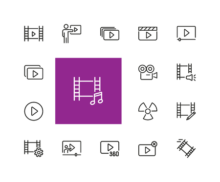 Movie icons. Set of  line icons. Multimedia, filmstrip, camera. Video content concept. Vector illustration can be used for topics like cinema, video footage, filming.