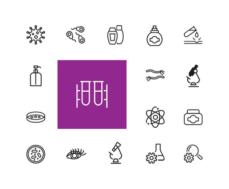 Medicine and healthcare icons. Set of  line icons. Bacteria, corrosion, microscope. Science concept. Vector illustration can be used for topics like microbiology, research, pharmaceutics Stock Vector - 102282046
