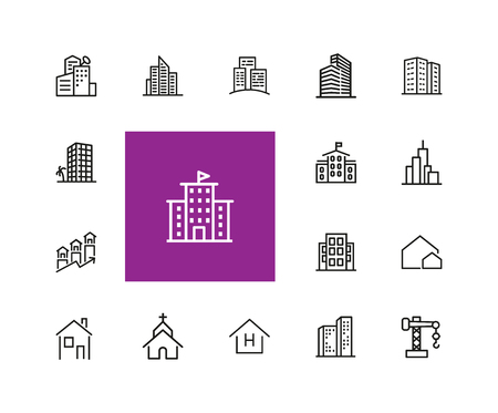 Construction icons. Set of line icons. Church, garage, hospital. Urban environment concept. Vector illustration can be used for topics like city, architecture, infrastructure