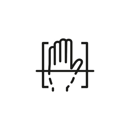 Biometric hand scan line icon. Palm, sensor, print. Identification concept. Can be used for topics like recognition, detection, identity