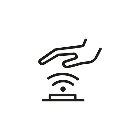 Palm scanning line icon. Hand, sensor, palm print. Verification concept. Can be used for topics like identity, data security, detection, authentication. Vectores