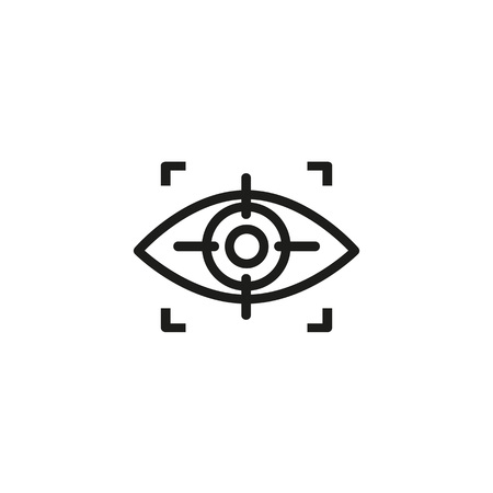 Eye scanning line icon. Human, iris, focus. Recognition concept. Can be used for topics like detection, biometric scanning, identity.