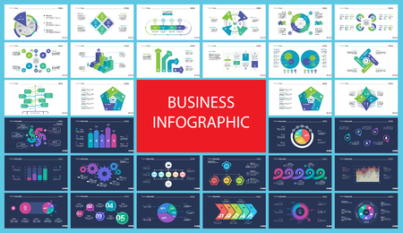 Creative business infographic slide templates set can be used for annual report, web design, workflow layout. Management concept. Option, comparison, donut, area, organizational charts, flowchart Vectores