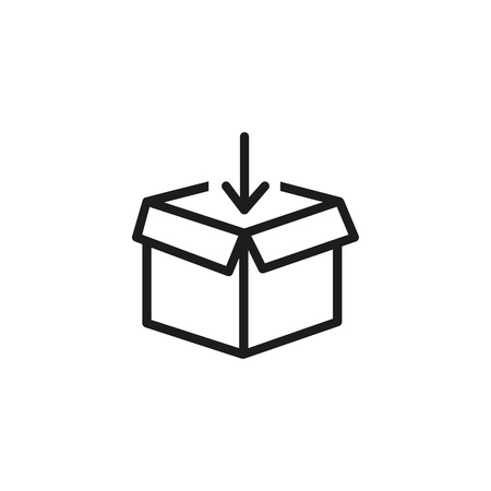 Packing parcel line icon. Unboxing, container, post. Distribution concept. Vector illustration can be used for topics like shipping, delivery, mail