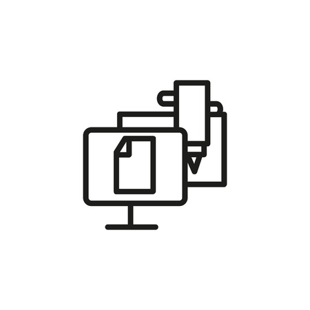 Computer numerically controlled program line icon. CNC, screen, paper, pencil. Industry concept. Can be used for topics like engineering, equipment, machinery. Illustration