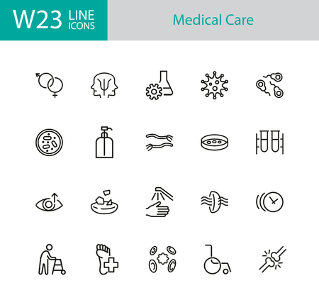 Medical care icons. Set of twenty line icons. Eye sight, virus, wheelchair. Wellness concept. Vector illustration can be used for topics like healthcare, medication, treatment.