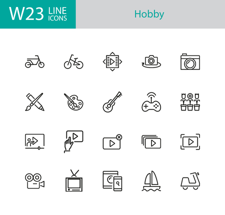 Hobby icons. Set of twenty line icons. Webinar, music, art. Hobby concept. Vector illustration can be used for topics like leisure, activity, movie.