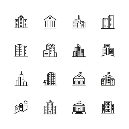 Building icons. Set of  line icons. Church, museum, bank. Architecture concept. Vector illustration can be used for topics city, public estate. 版權商用圖片 - 103057429