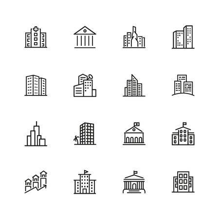 Icone della costruzione. Set di icone di linea. Chiesa, museo, banca. Concetto di architettura. L'illustrazione vettoriale può essere utilizzata per argomenti città, proprietà pubbliche.