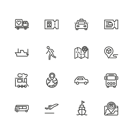 Journey icons. Set of  line icons. Train, bus, plane. Journey concept. Vector illustration can be used for topics like travel, vacation, vehicle.
