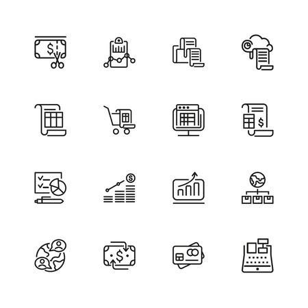 Administration icons. Set of line icons. Report, accounting, credit card. Administration concept. Vector illustration can be used for topics like financial management, analysis, marketing. Stock Illustratie