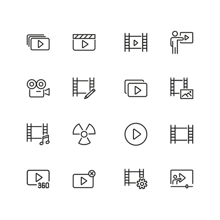 Cinema icons. Set of  line icons. Player filmstrip, camera. Video content concept. Vector illustration can be used for topics like online movie, video footage, streaming.