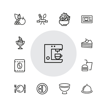 Meal icons. Set of  line icons. Restaurant, coffee shop, bakery. Food service concept. Vector illustration can be used for topics like food, lunch, cafe. Vectores
