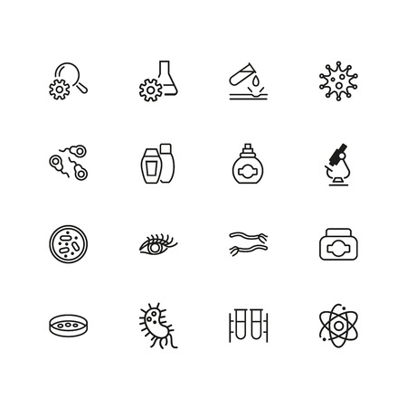 Medicine and healthcare icons. Set of  line icons. Bacteria, corrosion, microscope. Science concept. Vector illustration can be used for topics like microbiology, research, pharmaceutics Stock Vector - 103503038