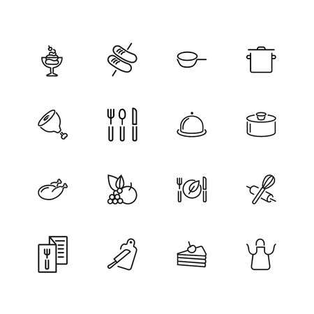 Cooking icons. Set of  line icons. Plate, saucepan, menu. Food preparation concept. Vector illustration can be used for topics like restaurant, food  イラスト・ベクター素材