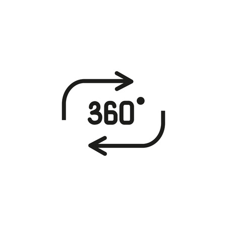 Rotating motion line icon. Three hundred and sixty degree, arrow, cycling. Three dimensional concept. Vector illustration can be used for topics like augmented reality, modeling, 3D printing