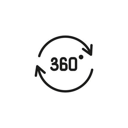 Icono de línea de trescientos sesenta grados. Ángulo, círculo, rotación. Concepto de realidad virtual. La ilustración vectorial se puede utilizar para temas como simulación, realidad aumentada, juegos. Ilustración de vector