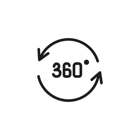 Icono de línea panorámica de trescientos sesenta grados. Flecha, espacio tridimensional, círculo. Concepto de panorama. La ilustración vectorial se puede utilizar para temas como 3D, modelado, rotación.