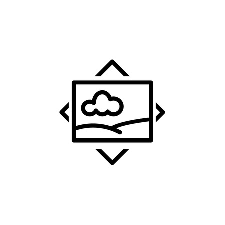 VR picture line icon. Photo, gallery, panoramic image. Photography concept. Can be used for topics like camera, virtual reality device, multimedia capabilities Stock Illustratie