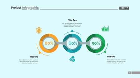Implementation infographics slide template. Business data. Graph, diagram, design. Creative concept for infographic, report. Can be used for topics like fulfillment, project, business performance Illusztráció