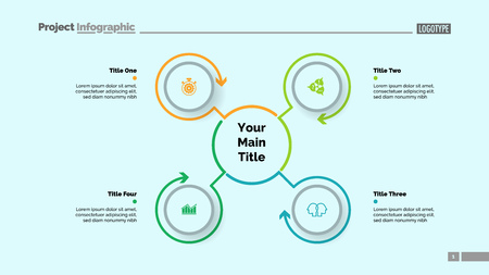 Mindmap template with four elements. Business data. Process, cycle, design. Creative concept for infographic, report. Can be used for topics like workflow, marketing, strategy Illustration