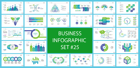 Set of management or statistics concept infographic charts. Business diagrams for presentation slide templates. For corporate report, advertising, banner and brochure design.