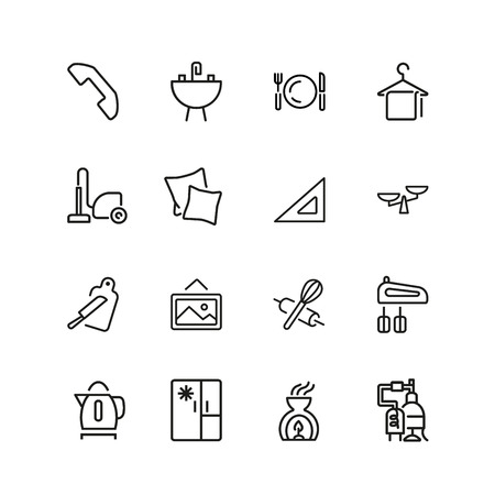 House keeping icons. Set of line icons. Utensils, domestic appliance, housecleaning. Housekeeping concept. Vector illustration can be used for topics like household, cooking, kitchen. Illustration