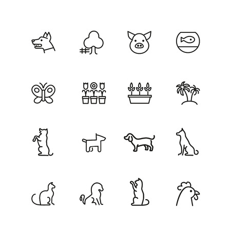 Animals and plant icons. Set of line icons. Dog, cat, tree. Nature concept. Vector illustration can be used for topics like gardening, farm, zoo.