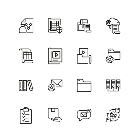 Folder icons. Set of  line icons. Data storage, exchange, file. File system concept. Vector illustration can be used for topics like information technology, analysis, reports