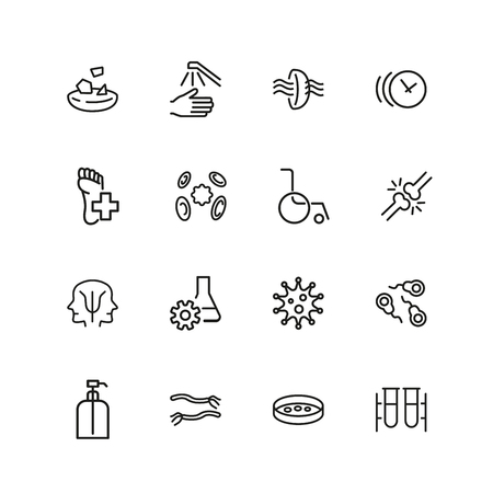 Medical care icons. Set of  line icons. Eye sight, virus, wheelchair. Wellness concept. Vector illustration can be used for topics like healthcare, medication, treatment. 일러스트