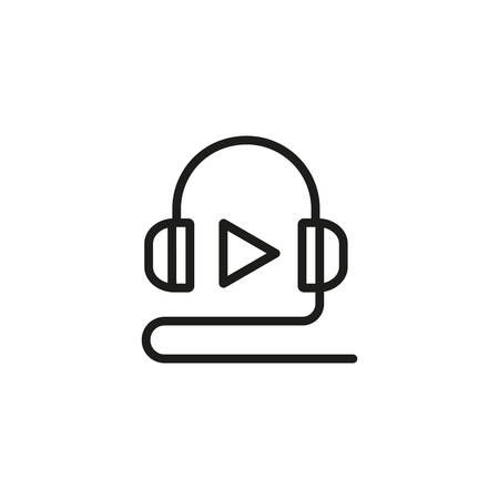 Audio lesson line icon. Headphone, play symbol, tutorial, class. Online education concept. Can be used for topics like distance courses, elearning, media content.