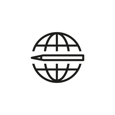 Elearning line icon. Pen, globe, planet. Online education concept. Can be used for topics like distance courses, studying abroad, communication.