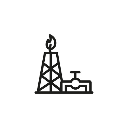 Gas processing plant line icon. Exploration, rig, flame, pipe. Non renewable energy concept. Can be used for topics like mining, ecology, industry