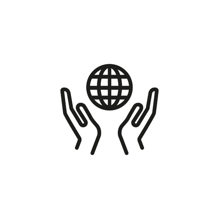 Hands holding globe line icon. Planet, nature, care, connection. Environment protection concept. Can be used for topics like ecology, charity, social network, global warming