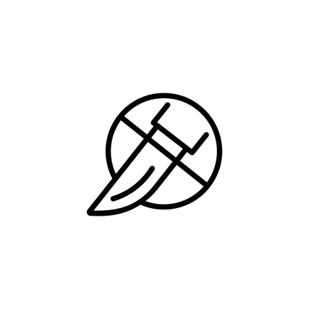 No surgery line icon. Scalpel, stop, prohibition sign. Medication concept. Can be used for topics like treatment, medicine, medical abuse, plastic surgery