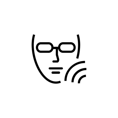 Photo cosmetology line icon. Human, face, eyewear. Beauty care concept. Can be used for topics like rejuvenation, therapy, epilation Illustration
