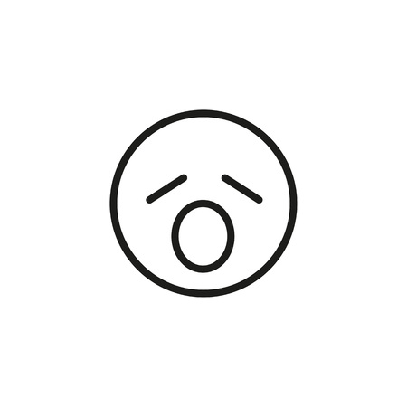 Yawning emoticon line icon. Sleepy, boredom, tired. Emoticon concept. Can be used for topics like emotion, social networking, chat
