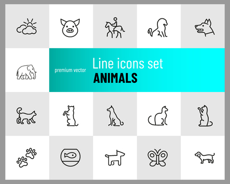 Animals icons. Set of line icons. Dog, elephant, fish bowl. Fauna concept. Vector illustration can be used for topics like nature, farm Illustration
