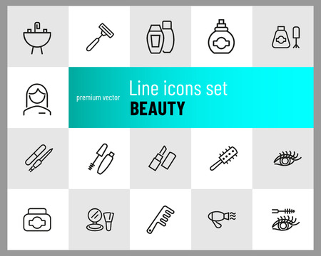 Beauty icons. Set of line icons. Aromatherapy, perfume, mascara. Cosmetics concept. Vector illustration can be used for topics like beautician, service, hygiene