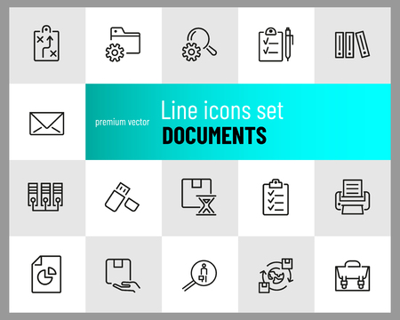 Documents icons. Set of  line icons. Information sign, folder, usb flash drive. Data storage concept. Vector illustration can be used for topics like web pictograms, information organization