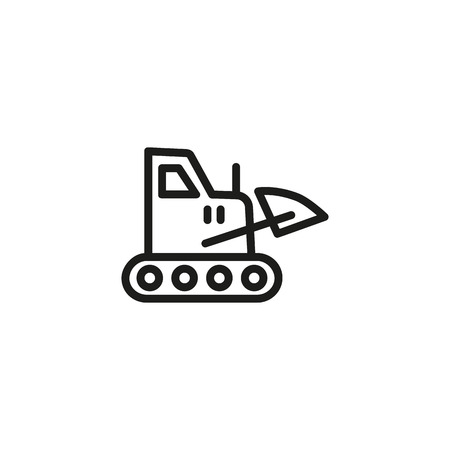 Construction machine line icon. Bulldozer, excavator, loader. Engineering concept. Vector illustration can be used for topics like transportation, vehicle, construction industry