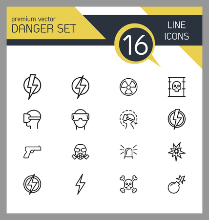 Danger icons. Set of line icons. Caution, high voltage, radiation hazard. Danger concept. Vector illustration can be used for topics like protection, high risk area, precaution.